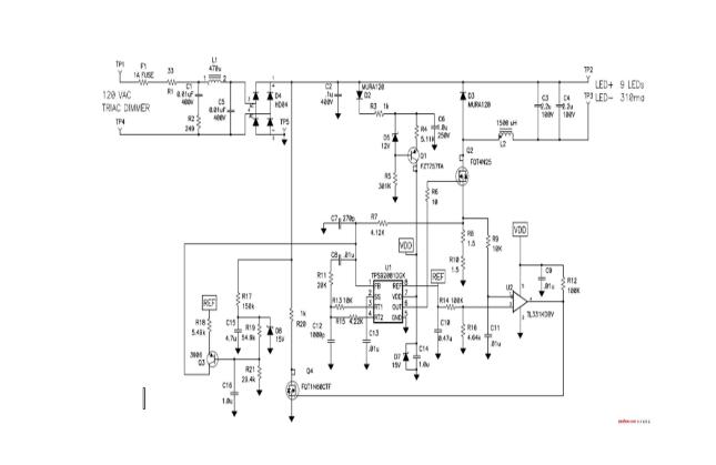 图 2 显示了一个通过 120 伏 ac 电源为 led 供电的非隔离式电路.