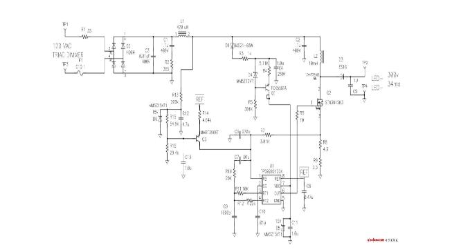 在一些低功耗设计中,led 物理隔离是一种常用方法,因为它允许使用成本更低的非隔离式电源。图 1 显示了一种典型的 LED 灯替代方法。本举例中的电源为非隔离式电源,其意味着实现用户高压保护的隔离被嵌入到了封装而非电源中。很明显,电源的空间极其小,从而对封装构成了挑战。另外,电源被隐埋到封装内部,从而阻碍了散热,影响了效率。    图 1 灯泡替换使电源空间变得极小   图 2 显示了一个通过 120 伏 AC 电源为 LED 供电的非隔离式电路。它包含一个为降压功率级供电的整流桥。该降压调节器是一个倒置